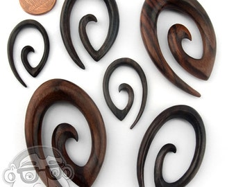 Sono Wood Oval Spiral Plugs Sizes / Gauges (10G - 00G) - New!