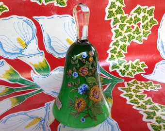 Vintage Toscany green glass bell with handpainted floral designs-Italy