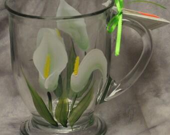 Hand painted, Glass Mugs