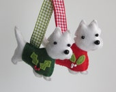 RESERVED For Vanessa 1 Red and 1 Green West Highland Terrier christmas felt ornaments