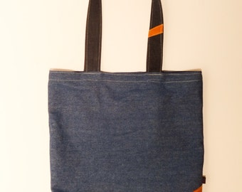 Denim shopper bag with pockets- FREE SHIPPING