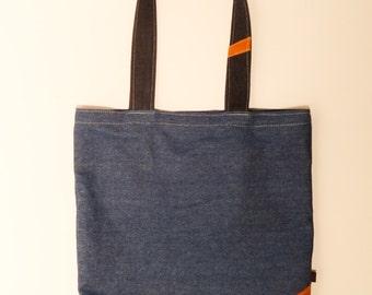 Denim shopper bag with pockets- free shipping to EU