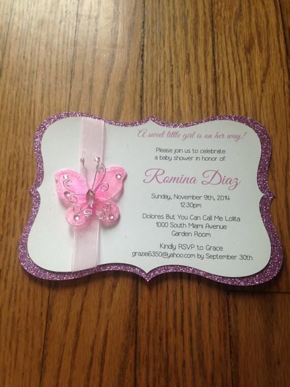butterfly garden themed baby shower invitation handmade baby shower