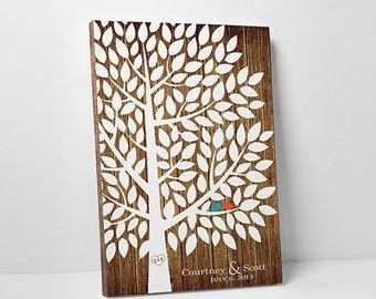 "Unique Wedding Guest Book - The Great Pine - A Victoria Rossi Design - Canvas or Print - 100-300 guest sign in - 24x36"" -"