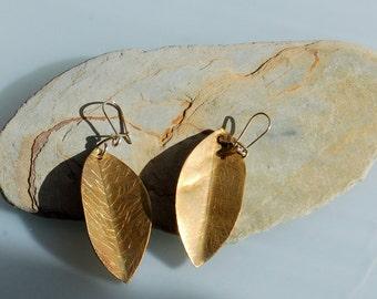 Brass Leaf Earrings.
