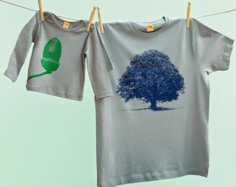 Matching Oak Tree & Acorn T Shirt Twinset for Daddy and Son or Daughter - Grey tshirts