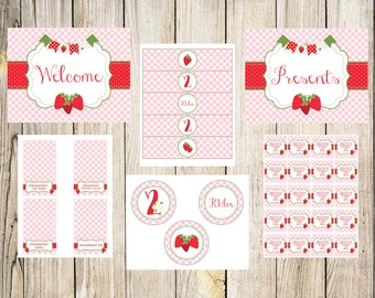 Strawberry Picnic Birthday Party Printable Package