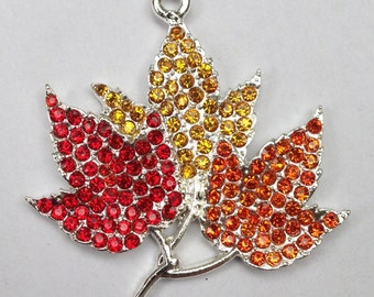 42mm Red Orange Golden Yellow Autumn Fall Leaves Rhinestone Pendant Chunky Necklace Beads