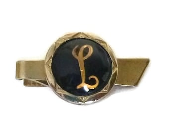 Vintage Monogram L Tie Clip, Letter 'L' Tie Bar, Initial L Tie Clasp, Mid Century Glass Domed, 50s 60s Wedding Jewelry, Black & Gold Classic