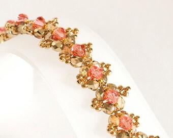Rose Peach Crystal Bracelet - Seed Bead Bracelet in Rose Peach Crystals, Gold Fire Polished Beads, Gold Seed Beads - Seed Bead Jewelry