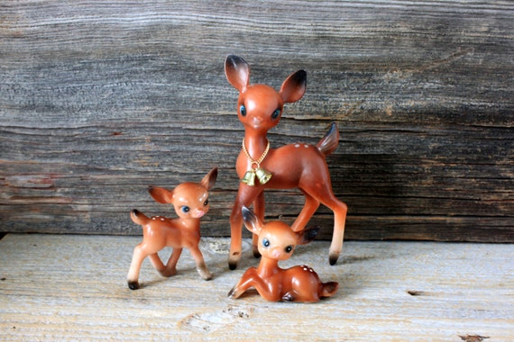 3  plastic deer fawn mid-century christmas decoration bambi familymom