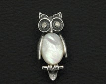 Athena Owl Broch Natural Mother Of Pearl 925 Sterling Silver Greek Handmade Art Unique
