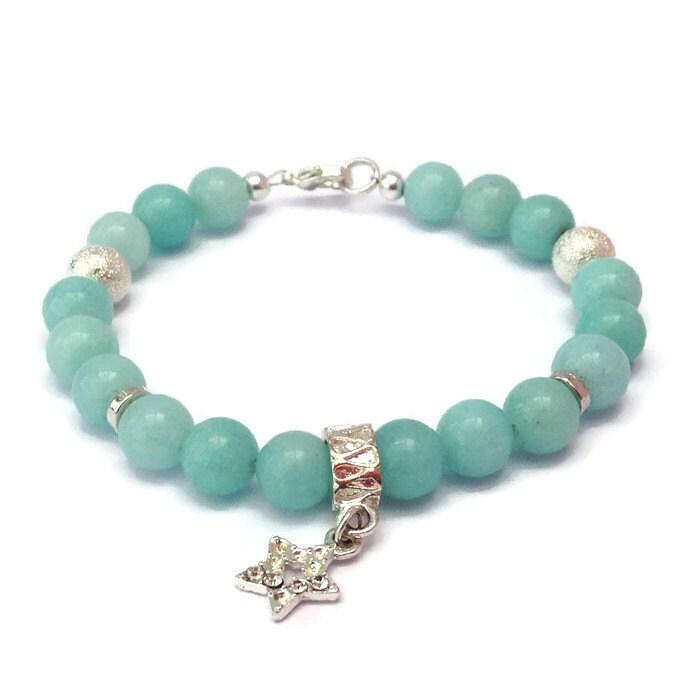 amazonite jade beaded bracelet silver charm