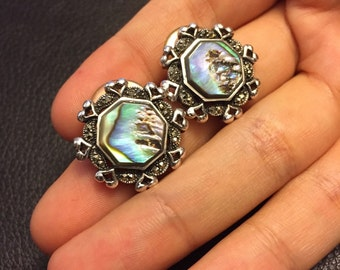 Vintage Sterling silver handmade earrings, Mexico 925 silver with geometric shapes abalone and heart shaped detail. Stamped 925, signed TMNF