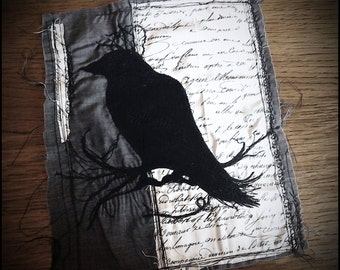 Embroidered Panel - Gothic Textile Art Crow Nevermore Design