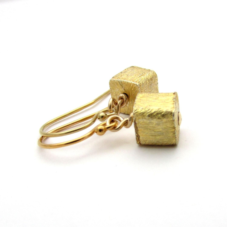 Tiny Gold Cube Earrings Small Gold Earrings Geometric