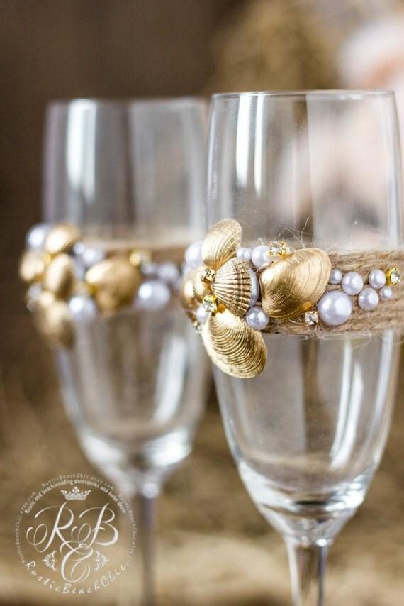 Beach WeddingChampagne Glasses Decorating Gold Shell
