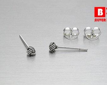 925 Sterling Silver Oxidized Earrings , Knot Earrings, Stud Earrings, Size 2.5 mm (Code : E36F)