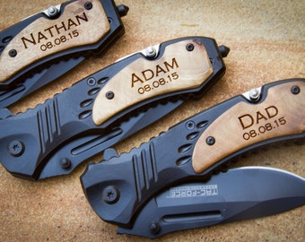 Custom Tac-Force Folding Knife, Personalized Pocket Knife, Custom Engraved Knife:Father's Day, Gift for Him, Groomsmen, Stocking Stuffer-06W
