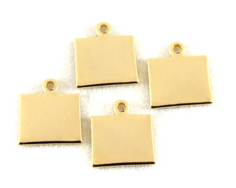 2x Gold Plated Blank Wyoming State Charms - M115-WY
