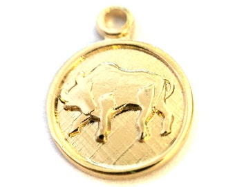 6x Gold Plated Taurus Charms - M029 - B