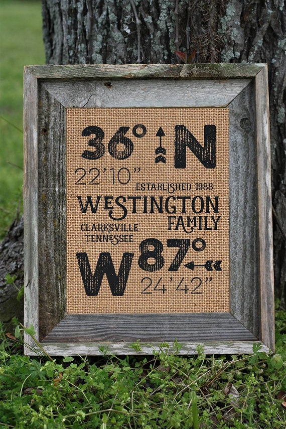 Framed Burlap House Warming Gift | Personalized Family | Latitude Longitude | Barn Wood Frame | 11x14 | 8x10  | Burlap Print | GPS