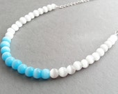Bright Blue Necklace; White; Aqua; Chunky Blue Necklace; Turquoise