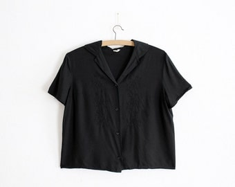 1950s Black embroidered blouse - 100% Rayon - loop collar - Made In France - Antique