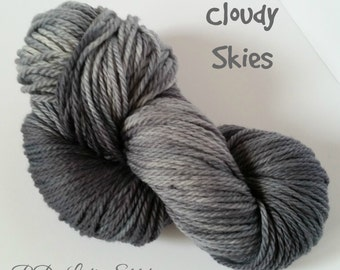 Hand-dyed 100% Superwash Merino Aran Weight---Cloudy Skies