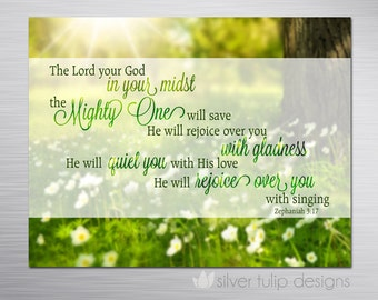 Christian Gift - Bible Verse from Zephaniah : The Mighty One - faith, hope, encouragement magnet for fridge or gift