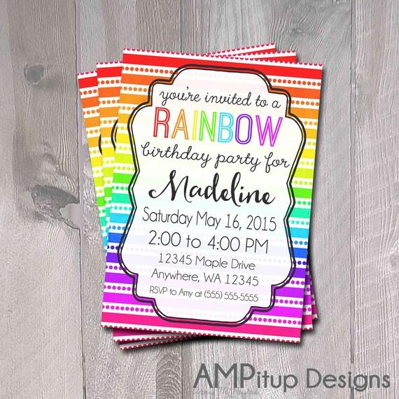 Items Similar To Printable Rainbow Birthday Party