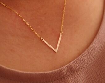 handmade 14K gold filled V shape necklace
