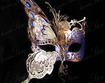 Masquerade Mask, Butterfly Mask, Masquerade Ball Mask [Royal Blue/Gold], Mardi Gras Mask