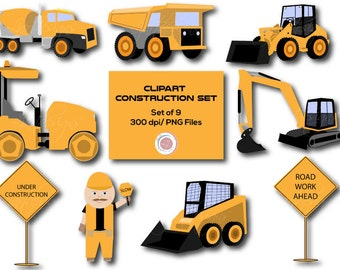 Construction Clipart,Clip Art, Truck Clipart, Loaders, Transportation, Crafting, Scrapbooking, Printable, Dump Truck, Instant Download