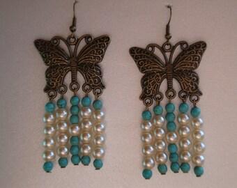 earrings, butterfly earrings, pearl earrings, turquoise earrings, dangle earrings, bronze earrings