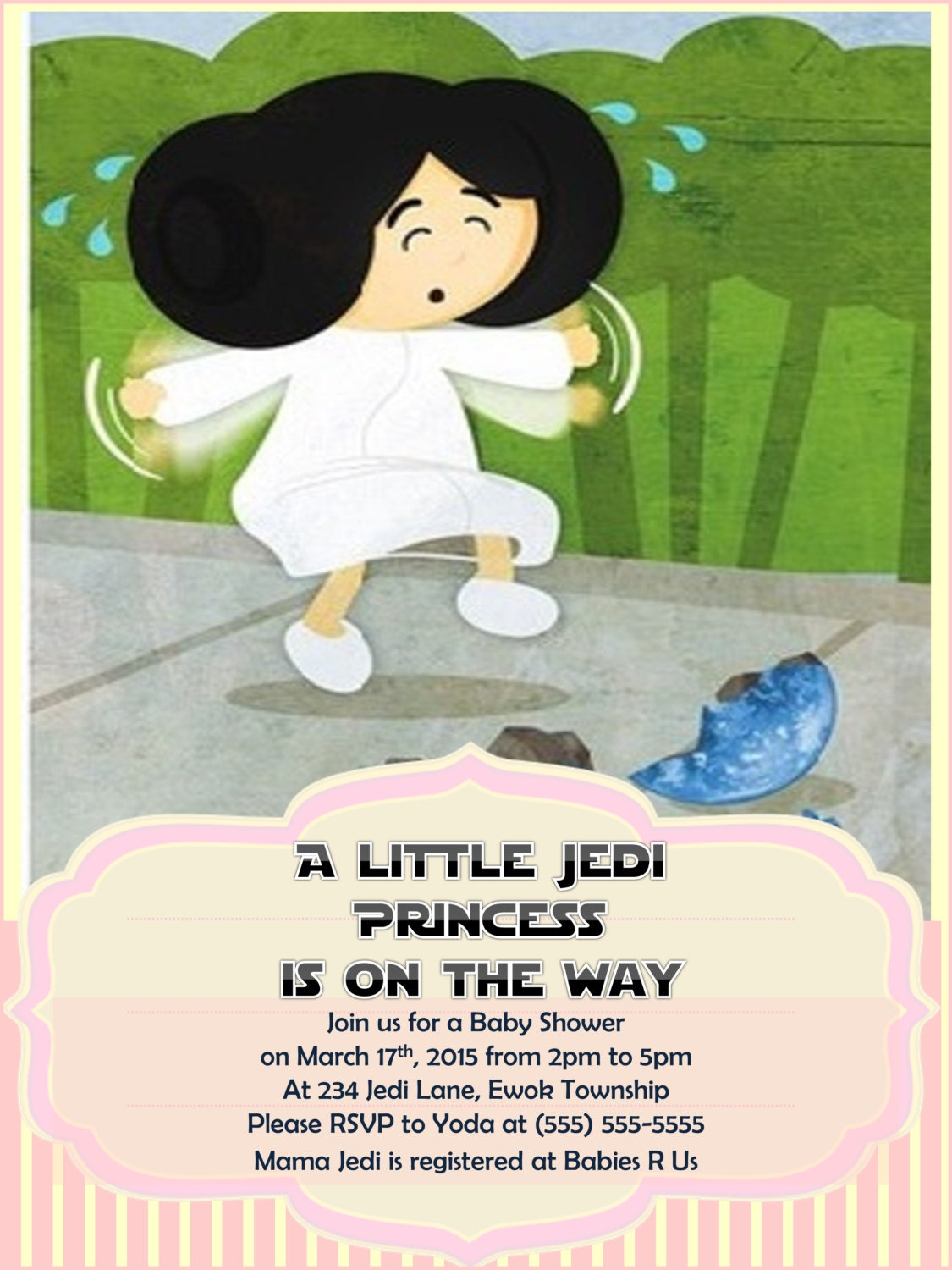 star wars baby shower invitation princess by raynerhysdesigns