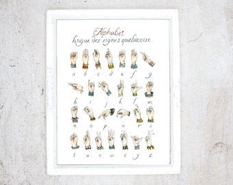 Print Quebec Sign Language Alphabet | Poste LSQ art | Learn hearing-impaired langage to communicate better together | AmeSLan ASL Bsl lsf