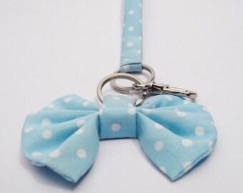 Blue bow polka dot keychain