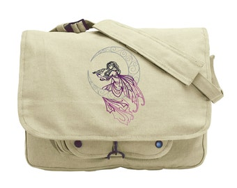 Lunar Fae Embroidered Canvas Messenger Bag