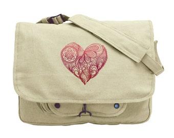 Mendhi Heart Embroidered Canvas Messenger Bag