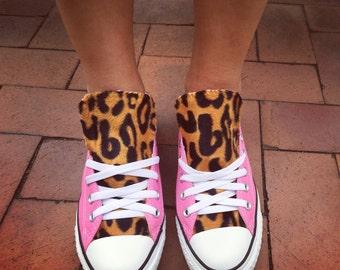 Leopard Print Converse Shoes Pink