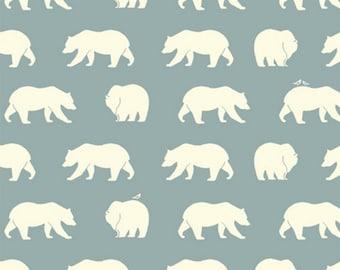 Birch Organic Fabric - Birch Bear Hike Mineral - Blue Bear Fabric