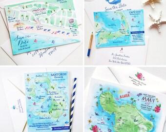 Custom Wedding Map, Save the Date Wedding Map, Custom Illustrated Map