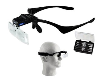 Head Magnifier W/ 5 Lens 1X-3.5X Illuminated Led Jewelry Watchmakers Repair Tool. 303-125