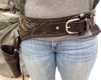 """Gun Holster ,Belt ,Tooled Leather, 36""""-38"""" waist 44,45 Caliber Gun ,Black"""