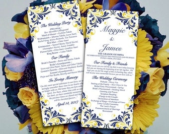 "DIY Wedding Program Template  Navy Blue Yellow  ""Maggie"" Printable Tea Length Program DIY Wedding Template Order of Service"