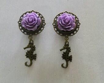 1/2 lilac rose seahorse dangles