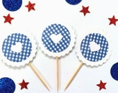 SALE!!! Summer/BBQ/Picnic/Fourth of July/ Cupcake Toppers