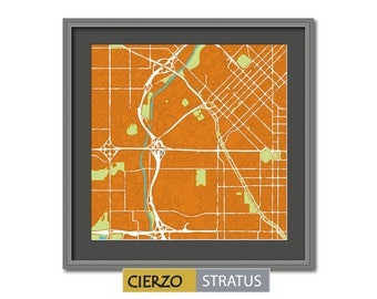 DENVER MAP Handmade print  (Cierzo - Stratus series)