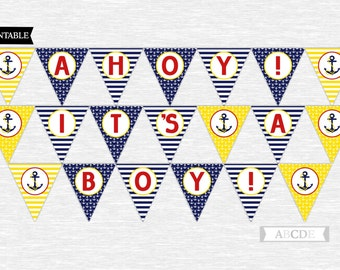 Instant Download Yellow, Red and Navy Ahoy! It's Boy! Banner Nautical Baby Shower DIY Printable (PDNSD002)